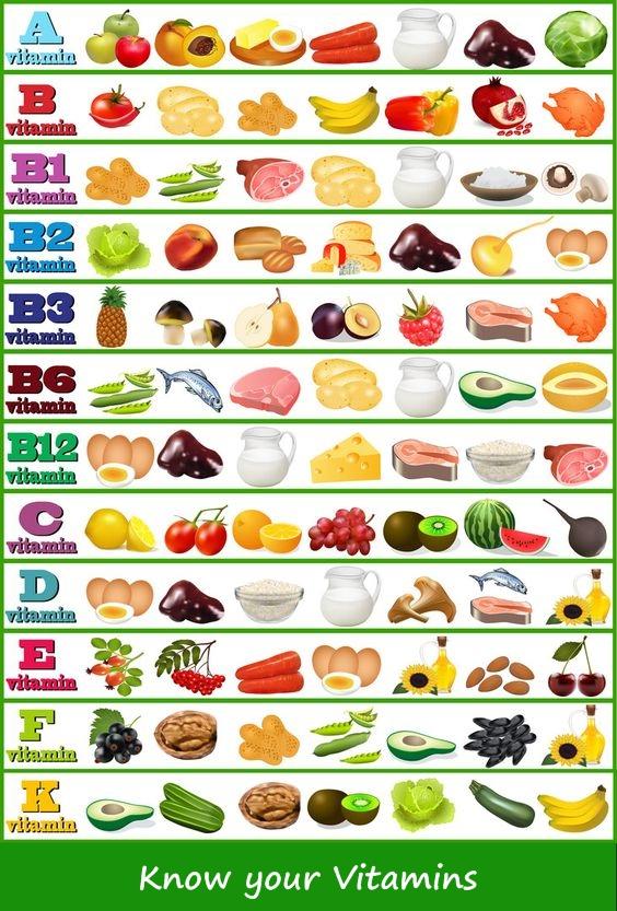 Vitamins Chart - Nutritious appetite